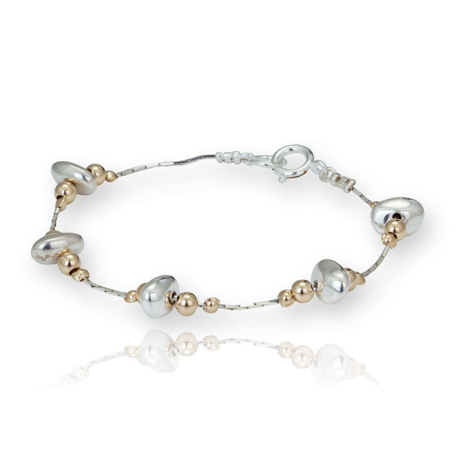 Lavan Sterling Silver & Gold Nugget Bracelet - Medium KeuBk2b2ys
