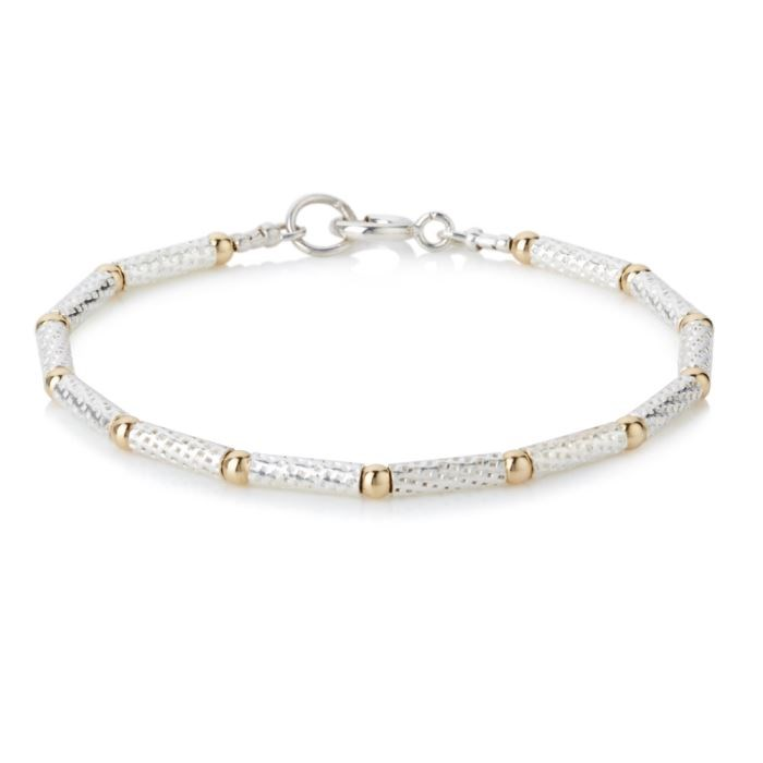 b25a2a9be72 Handmade Sterling Silver Tube and Gold Bead Bracelet