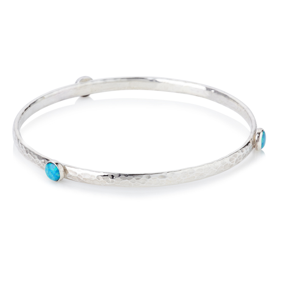 Handmade Silver Bangle with Blue Opals | Lavan Designer