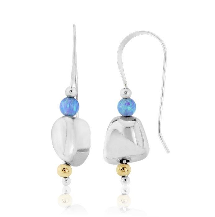 Lavan Gold & Silver Silver Nugget Opal Drop Earrings RwTycl