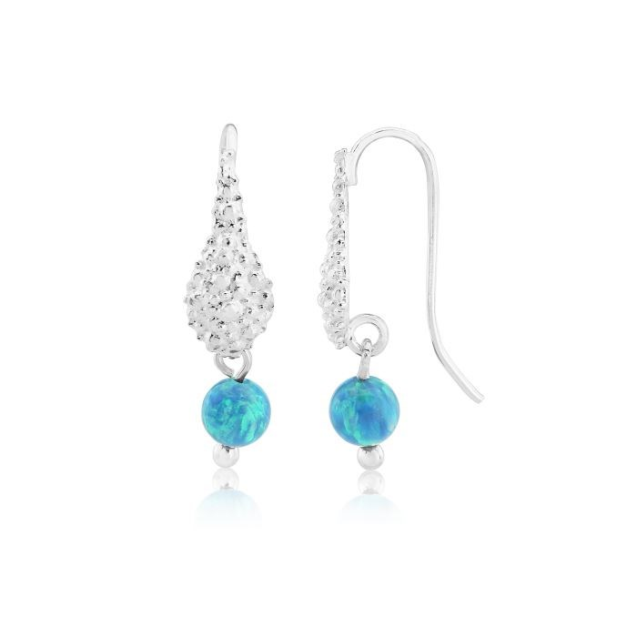 Lavan Sterling Silver & Aqua Opal Drop Earrings daiYu9CIV