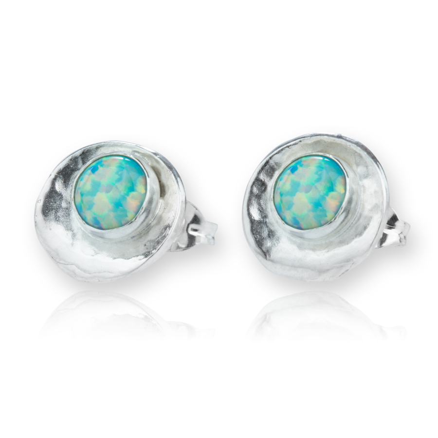 Lavan Sterling Silver, Oyster Shell & Blue Opal Earrings