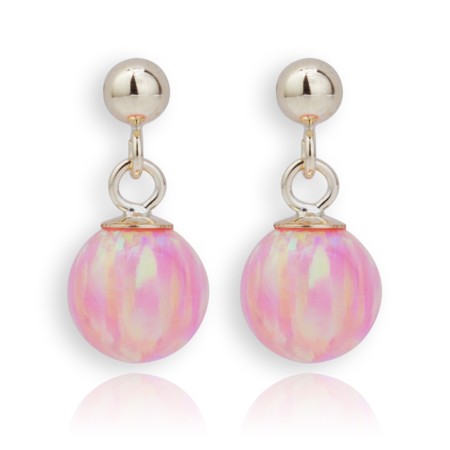 pink opal and gold drop earrings lavan designer jewellery