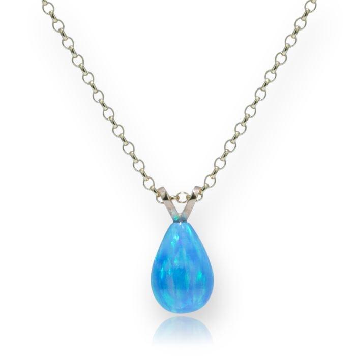 Blue opal teardrop pendant lavan designer jewellery delicate 9ct gold blue teardrop opal pendant image 1 mozeypictures Gallery