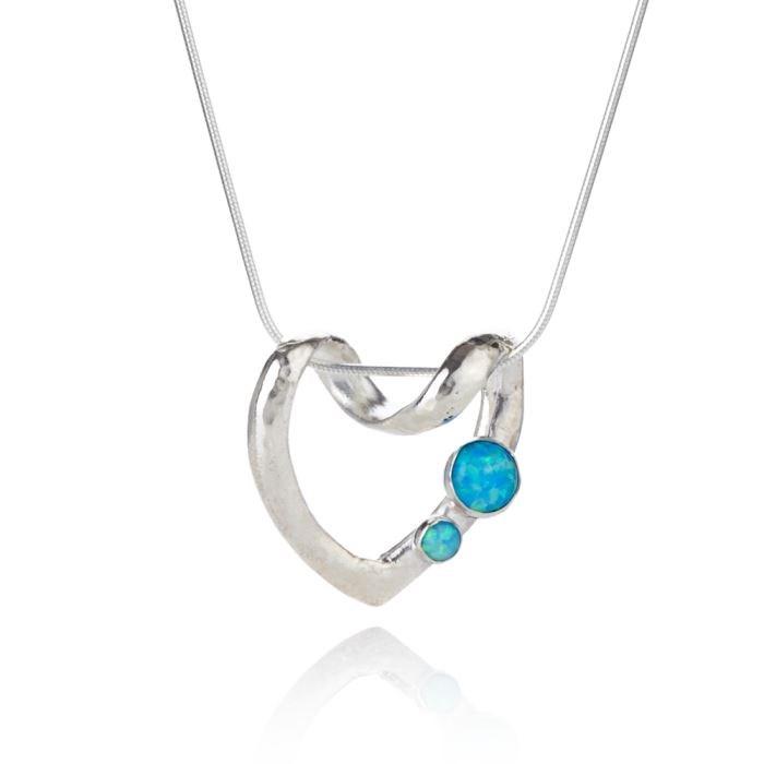 Blue opal silver heart pendant lavan designer jewelle sterling silver opal heart pendant image 1 aloadofball Gallery