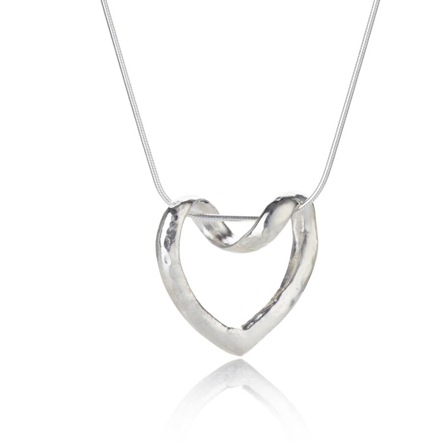 62c4f44d7e Silver Hammered Open Heart Pendant | Lavan Handmade Sil
