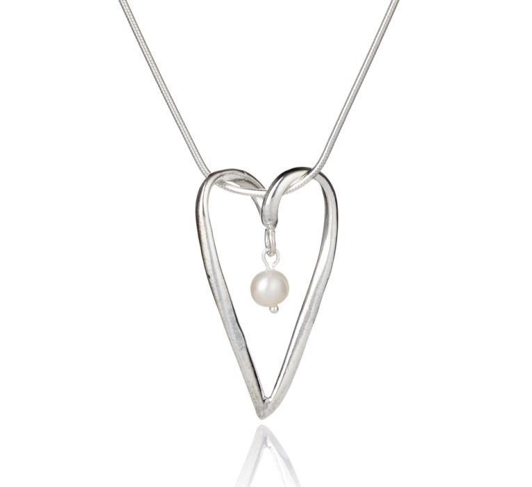Silver and pearl heart pendant lavan designer jewelle handmade silver and pearl heart pendant image 1 aloadofball Image collections