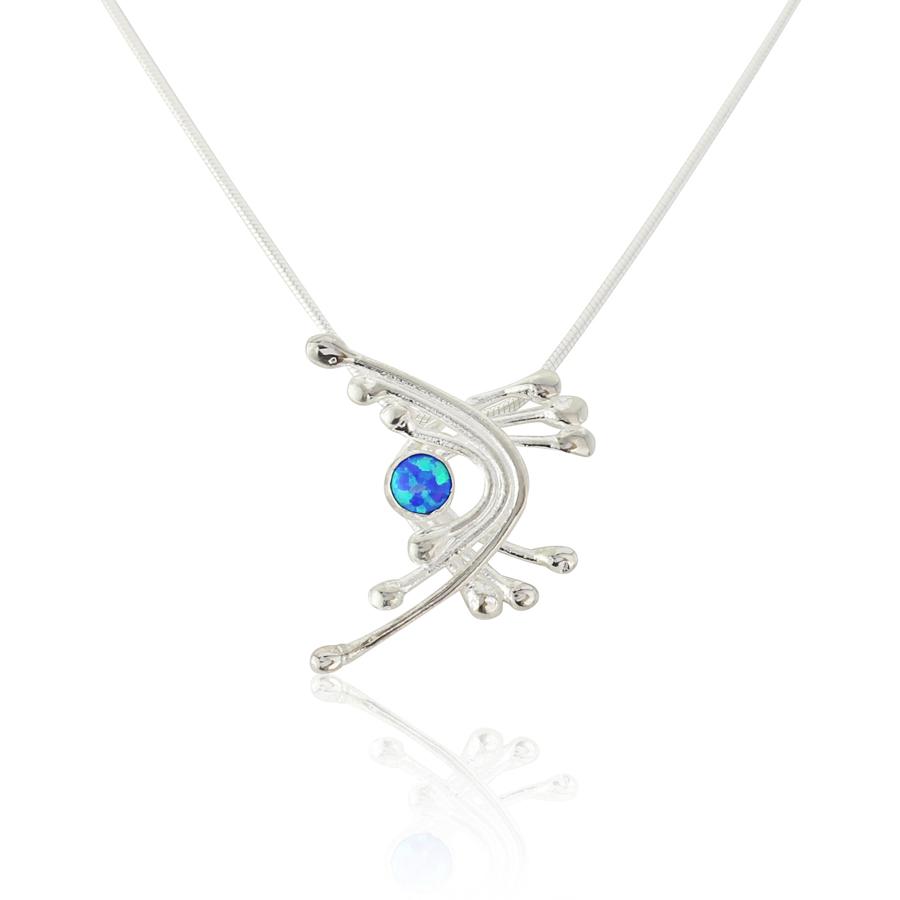 Silver Wire and Dark Blue Opal Pendant | Lavan Designer Jewe