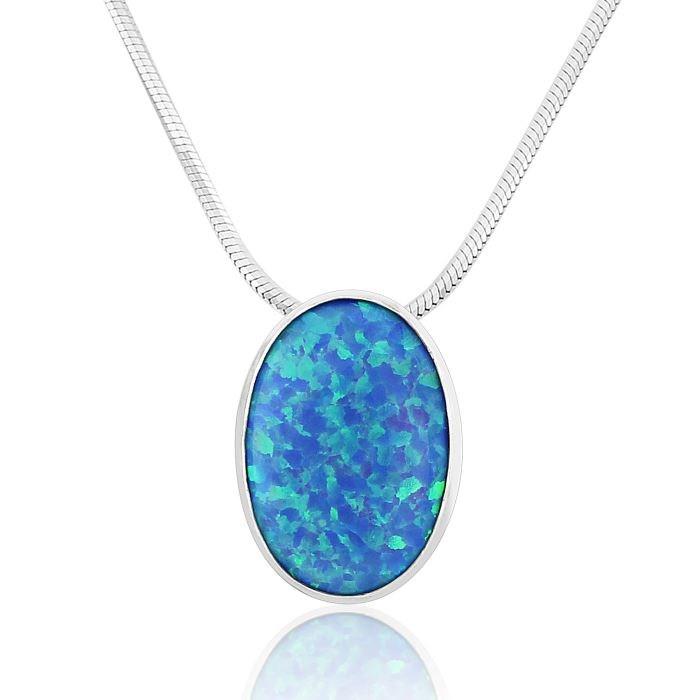 Silver blue opal pendant lavan designer jewellery silver dark blue opal pendant image 1 aloadofball Gallery