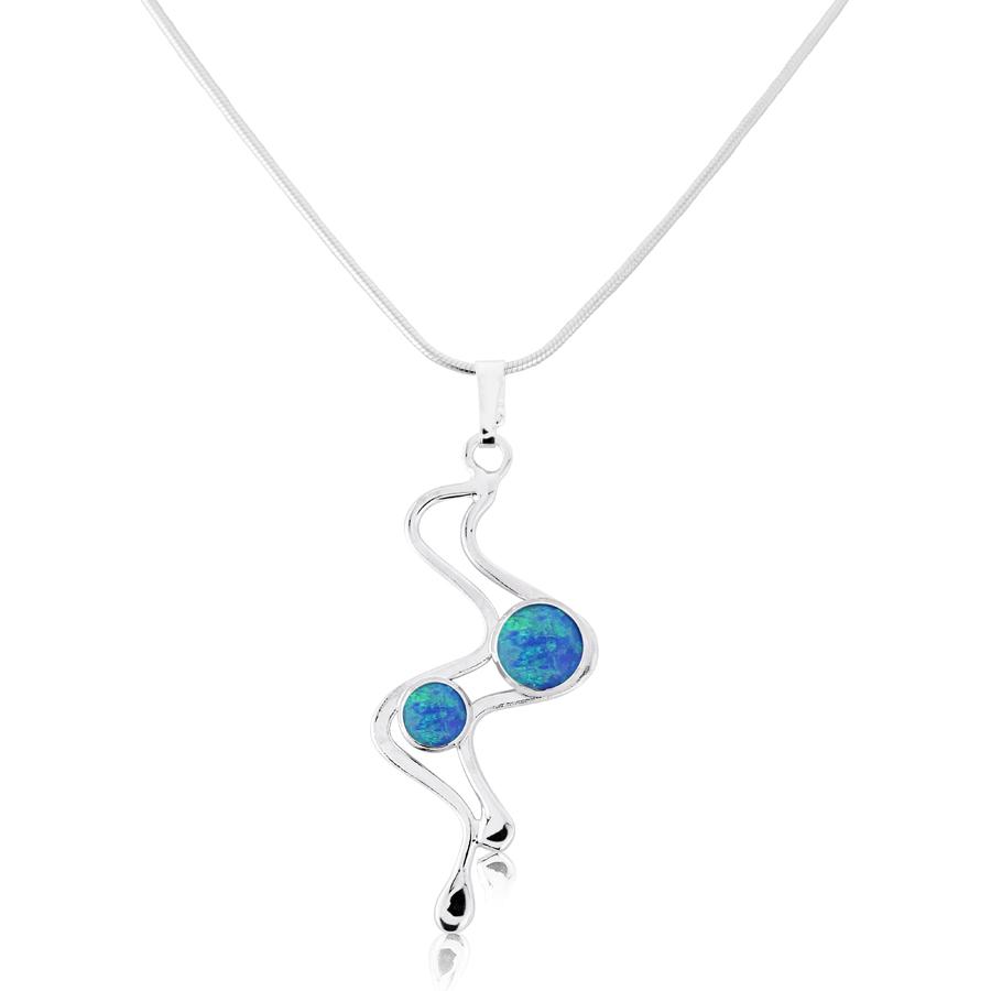 Silver Wire Work Blue Opal Pendant | Lavan Designer Jeweller