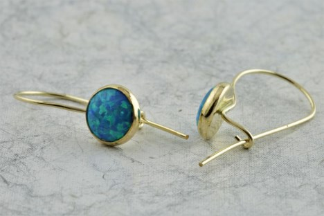 White Opal Gold Drop Earrings | Image 1