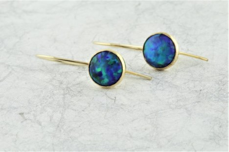 Jelly Blue Opal Gold Drops Earrings | Image 1