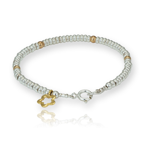 Gold and Silver Link and Flower Bracelet WAS £98 NOW £65 | Image 1