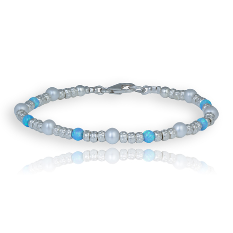 Handmade Pearl and Opal Silver Bracelet | Image 1