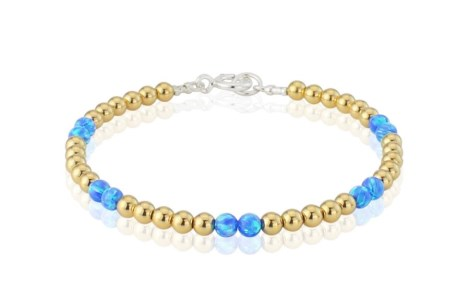 Gold Bead and Dark Blue Opal Bracelet WAS £145 NOW £95 | Image 1