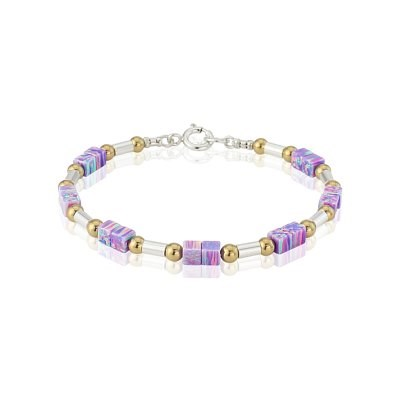 Purple Cube Opal Gold and Silver Bracelet | Image 1