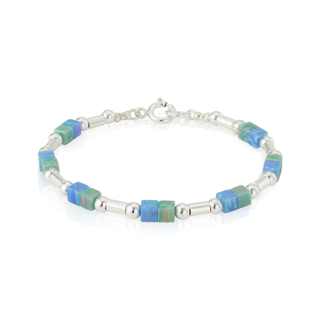Blue and Green Opal Silver Bracelet | Image 1