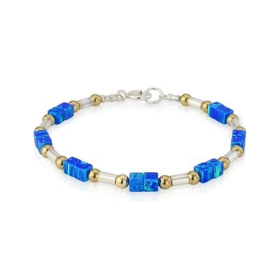 Blue Opal Cubed Gold and Silver Bracelet | Image 1