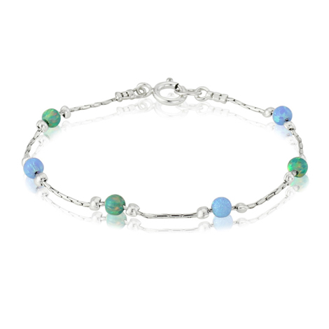 Blue and Green Opal Beads and Silver Bracelet | Image 1
