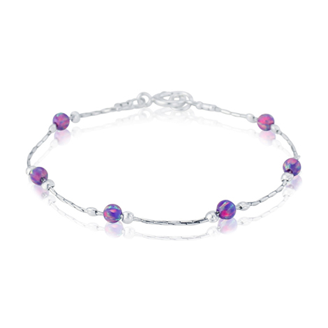 Purple Opal Beads and Silver Bracelet | Image 1