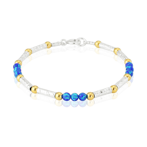 Gold and Silver with Dark Blue Opal Beads Bracelet | Image 1