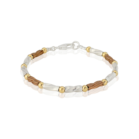Gold and Silver Three Colour Twist Bracelet | Image 1