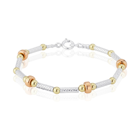 Tricolour Gold and Silver Patterned Bracelet | Image 1