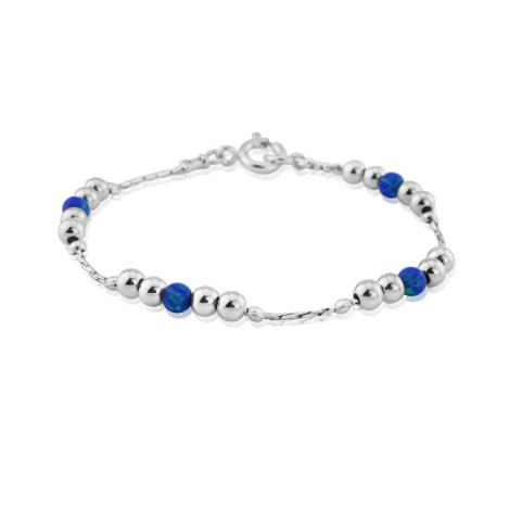 Silver and Dark Blue Opal Bracelet | Image 1