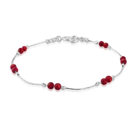 Silver and Red Opal Bracelet | Image 1