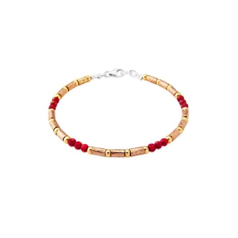 Rose Gold and Silver Red Opal Bracelet | Image 1