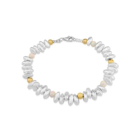 Gold and Silver Pebble Bracelet with White Opals | Image 1