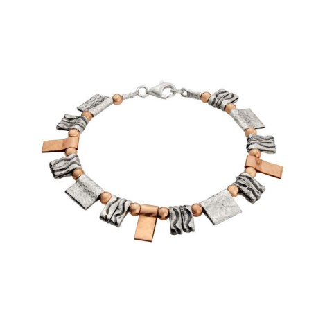 Rose Gold and Silver Hammered Bracelet | Image 1