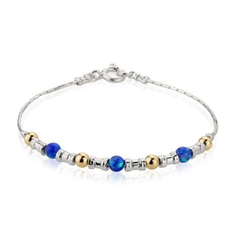 Gold, Silver and Dark Blue Opal Bracelet | Image 1