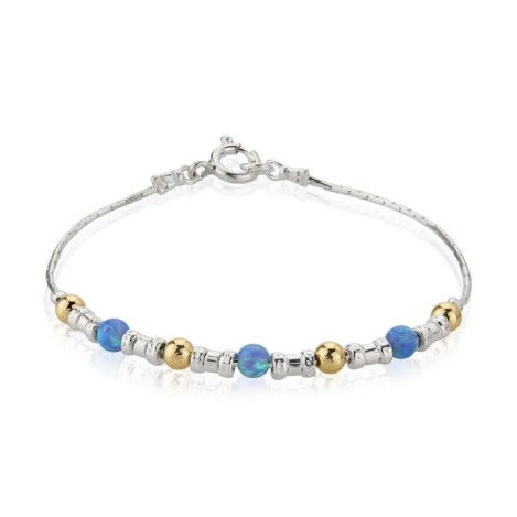 Gold, Silver and light Blue Opal Bracelet | Image 1