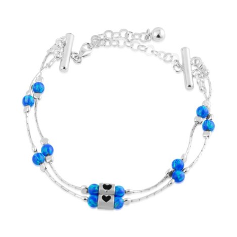 Silver and Blue Opal Heart Bracelet | Image 1
