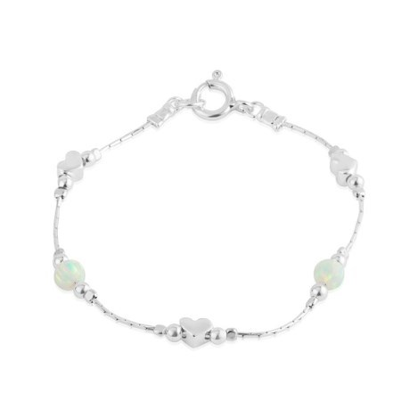 Silver and White Opal Heart Bracelet | Image 1