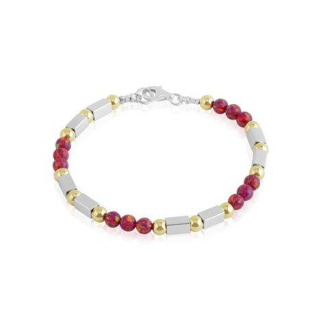 Gold and silver red opal bracelet | Image 1
