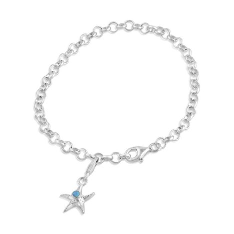 Blue opal starfish charm with bracelet | Image 1