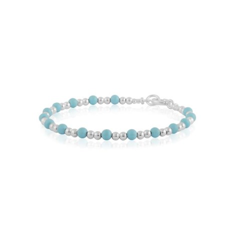 Silver and turquoise beaded bracelet | Image 1