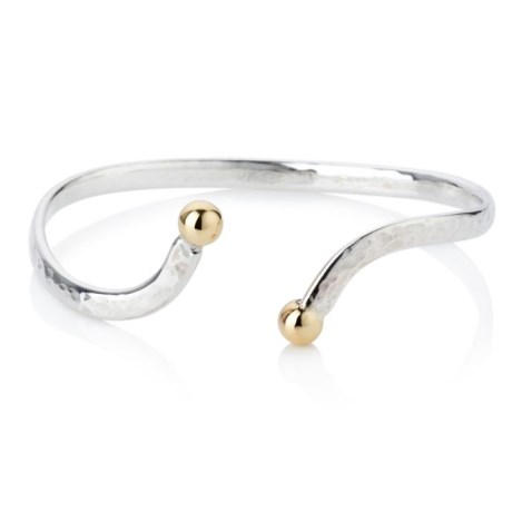 Gold and Silver Hammered Bangle | Image 1