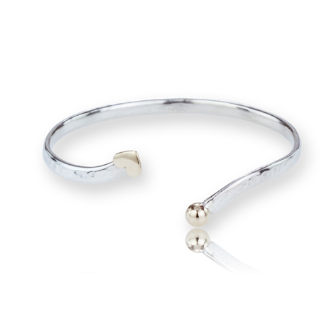 Gold and Silver Heart Bangle | Image 1