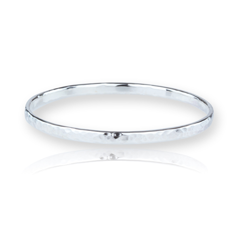 Sterling Silver Hammered Bangle | Image 1