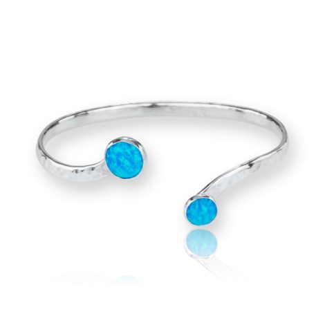 Sterling Silver Adjustable Torque Bangle with Green Opals  | Image 1