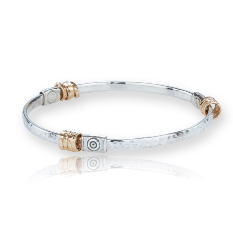 Silver and Gold Spiral Bangle WAS £195.00 NOW £165.00 | Image 1