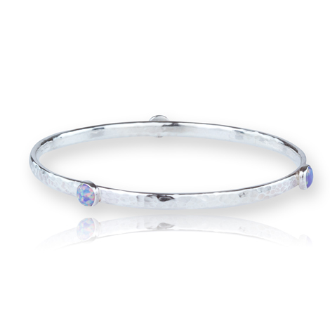 Silver Bangle set with Purple Opals | Image 1