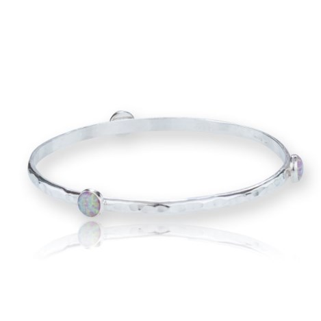 Large Silver Bangle set with 6mm Pink Opals | Image 1