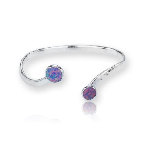 Handmade Hammered Silver Torq Bangle with Vibrant Purple Opals | Image 1