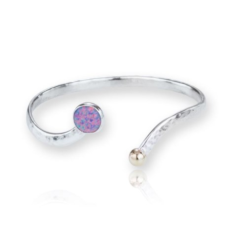 Gold and Silver Bangle set with Purple Opal | Image 1