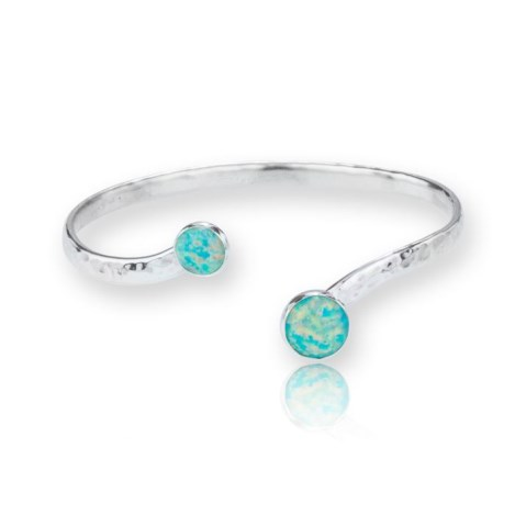 Sterling Silver Adjustable Torq Bangle set with Stunning Green Opals and A Hammered Finish | Image 1