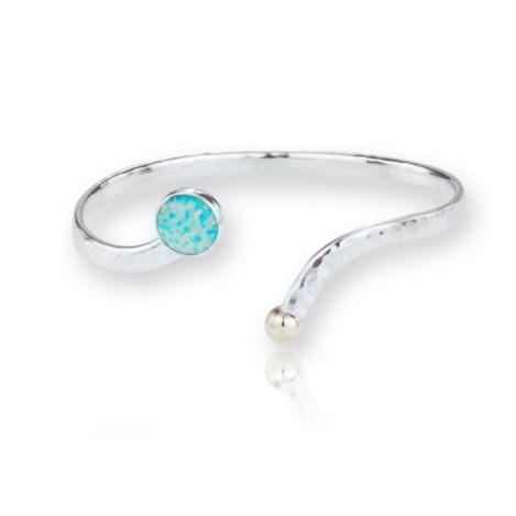 Gold and Silver Bangle with Stunning Green Opals | Image 1